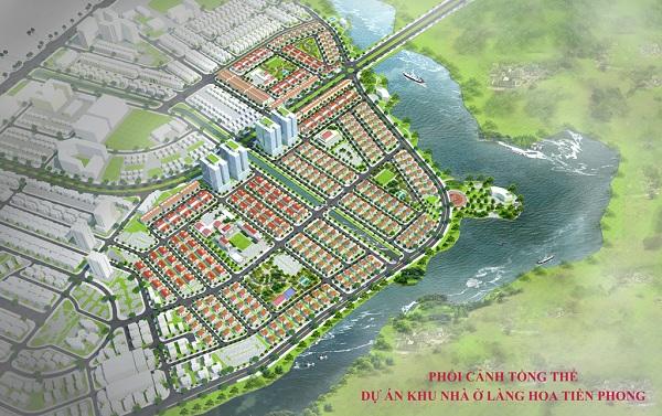 Phối cảnh tổng thể Dự án Khu đô thị Làng Hoa Tiền Phong Mê Linh