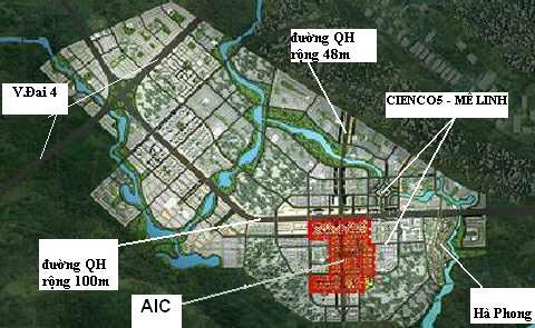 Vị trí Dự án Khu đô thị mới AIC Mê Linh