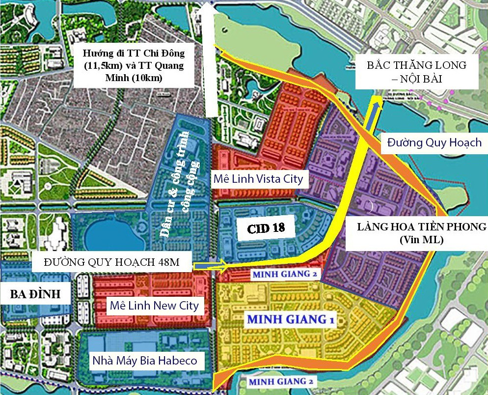 Vị trí Dự án Khu đô thị Ba Đình Mê Linh