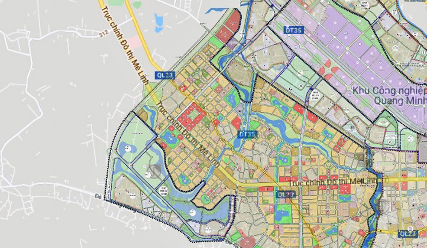 Sơ đồ vị trí cầu Hồng Hà thuộc địa bàn Mê Linh. (Nguồn ảnh: Quyhoach.hanoi.vn).