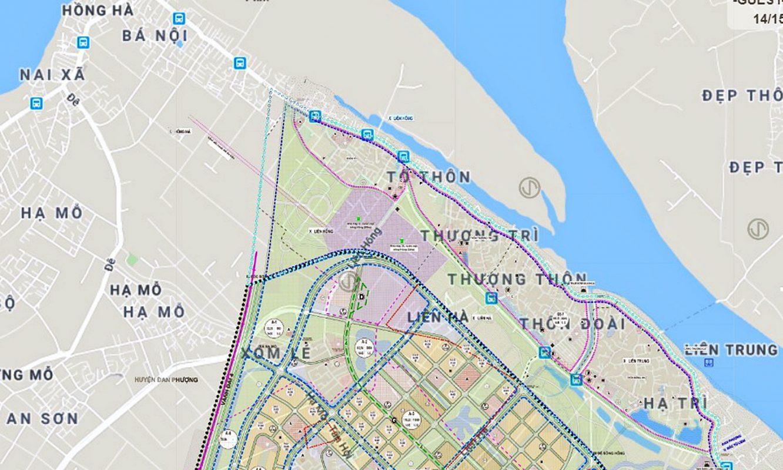Sơ đồ vị trí cầu Hồng Hà thuộc địa bàn huyện Đan Phượng. (Nguồn ảnh: Quyhoach.hanoi.vn).