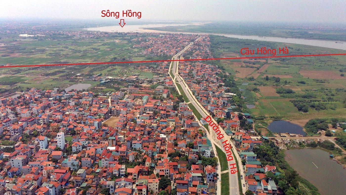 Vị trí cầu Hồng Hà cắt qua địa bàn huyện Đan Phượng.