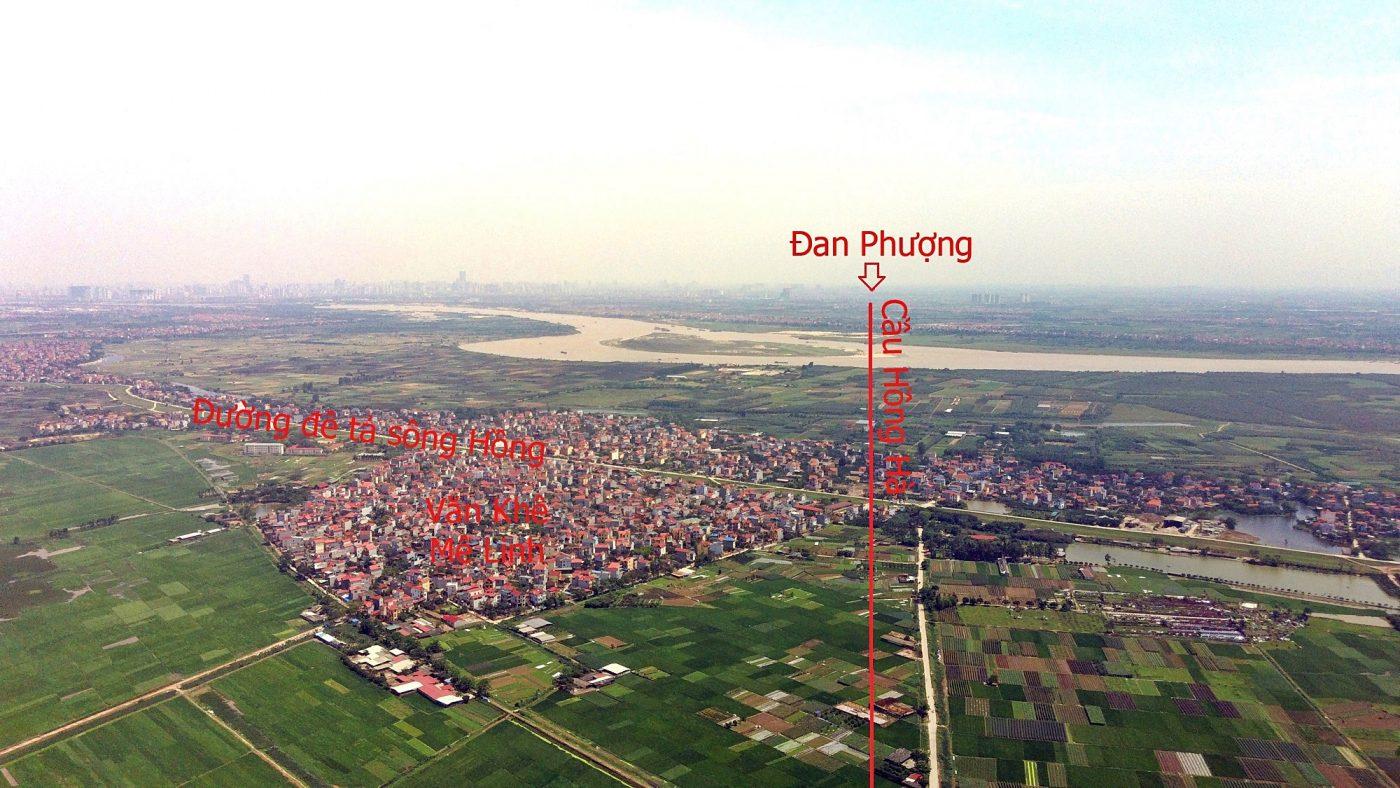 Tại địa bàn huyện Mê Linh, cầu Hồng Hà đi qua đường đê tả sông Hồng tại xã Văn Khê, đoạn gần trường tiểu học Văn Khê C.