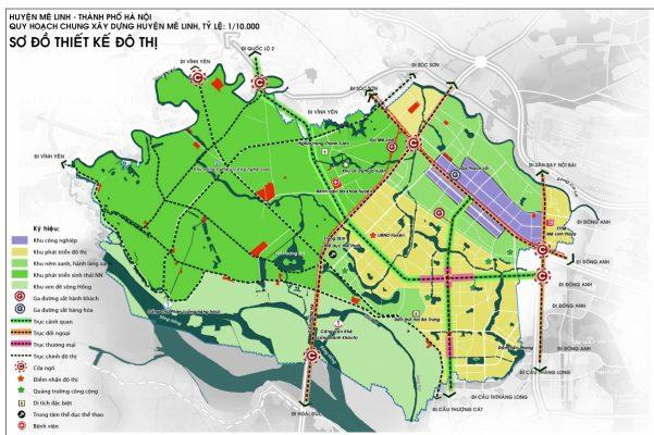 Bản đồ Quy hoach chung xây dựng huyện Mê Linh, tỉ lệ 1/10.000