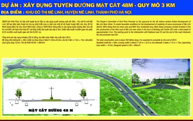 Dự án xây dựng tuyến đường mặt cắt 48m Khu đô thị Mê Linh