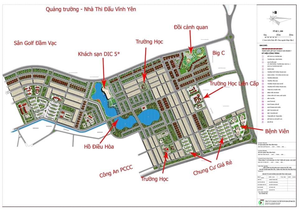 Mặt bằng tổng thể Dự án Khu đô thị Nam Vĩnh Yên - Giai đoạn 1