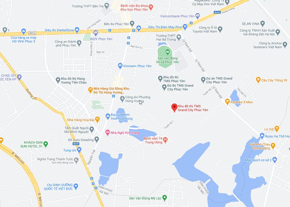 Vị trí Dự án Khu đô thị TMS Grand City Phúc Yên