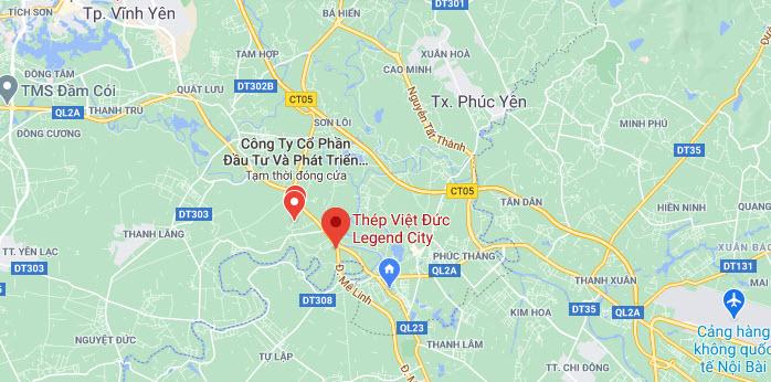 Vị trí Dự án Khu đô thị Việt Đức Legend City Bình Xuyên
