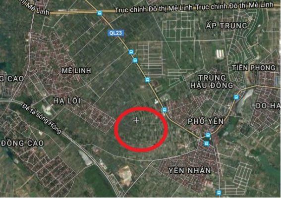 Vị trí Dự án Khu đô thị sông Hồng Mê Linh trên bản đồ