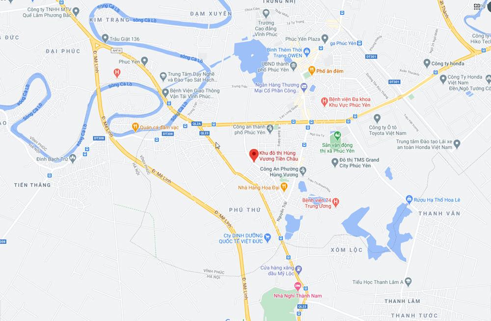 Vị trí Dự án Khu đô thị Hùng Vương Tiền Châu Phúc Yên