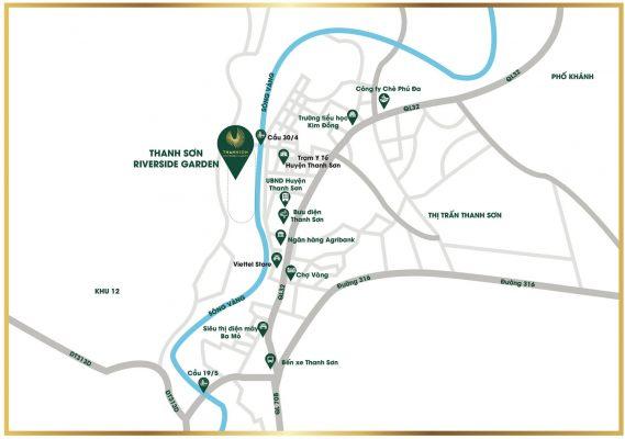 Vị trí Dự án Khu đô thị Thanh Sơn Riverside Garden Phú Thọ