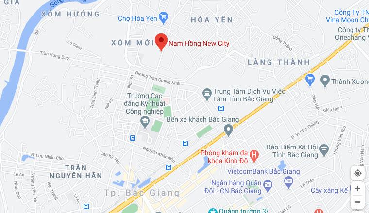 Vị trí Dự án Khu đô thị Nam Hồng New City Bắc Giang