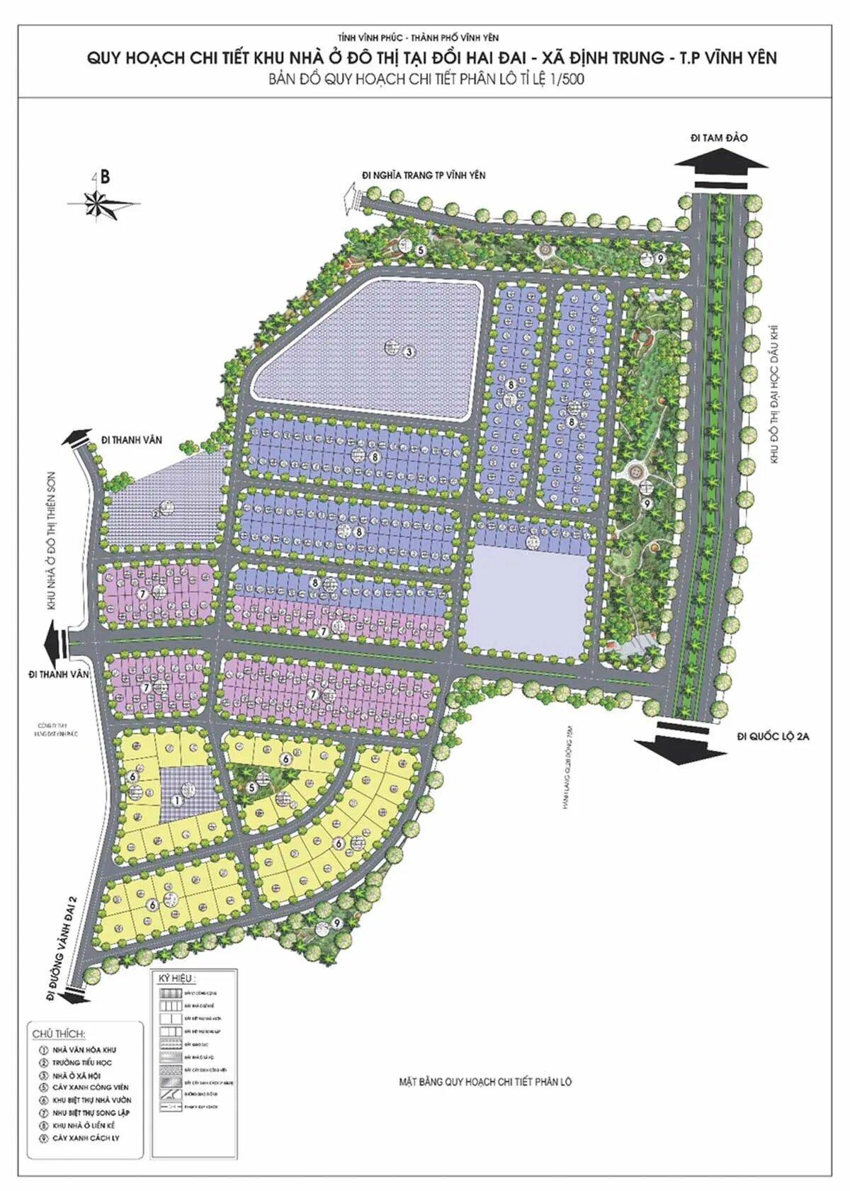 Mặt bằng Dự án Khu đô thị Park Hill Thành Công Vĩnh Yên