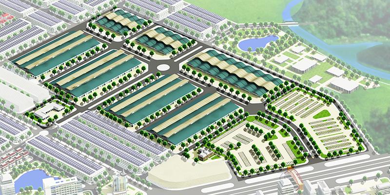 Phối cảnh Dự án Khu chợ đầu mối Thổ Tang, Khu đô thị thương mại Vĩnh Tường Vĩnh Phúc