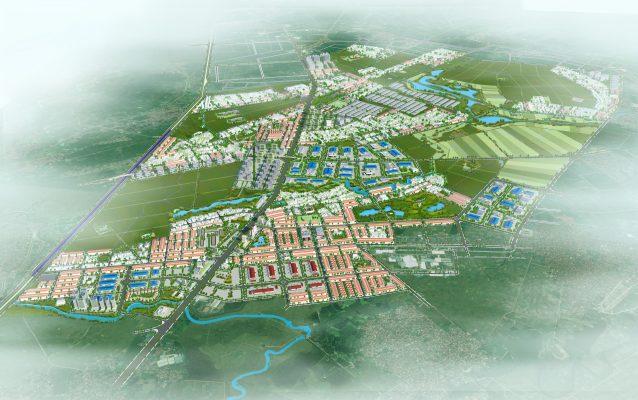 Phối cảnh tổng thể Quy hoạch phân khu B4 tỷ lệ 1/2000 Khu vực phát triển đô thị, dịch vụ và nông nghiệp sinh thái tại huyện Vĩnh Tường và huyện Yên Lạc, tỉnh Vĩnh Phúc