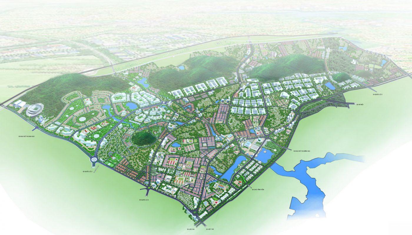 Phối cảnh tổng thể Quy hoạch phân khu A5 tỷ lệ 1/2000 Phát triển đô thị trung tâm tại thành phố Vĩnh Yên và một phần đất đai huyện Bình Xuyên, huyện Tam Dương - Vĩnh Phúc