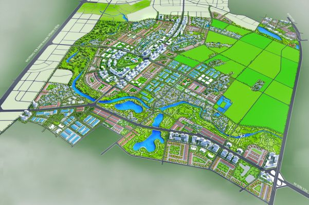Phối cảnh tổng thể Quy hoạch phân khu B3 tỷ lệ 1/2000 Khu đô thị, nông nghiệp sinh thái tại huyện Vĩnh Tường và huyện Yên Lạc tỉnh Vĩnh Phúc