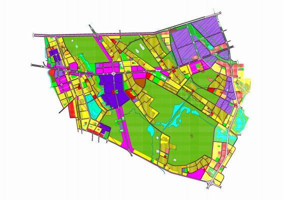 Quy hoạch tổng mặt bằng sử dụng đất Quy hoạch phân khu B4 tỷ lệ 1/2000 Khu vực phát triển đô thị, dịch vụ và nông nghiệp sinh thái tại huyện Vĩnh Tường và huyện Yên Lạc, tỉnh Vĩnh Phúc