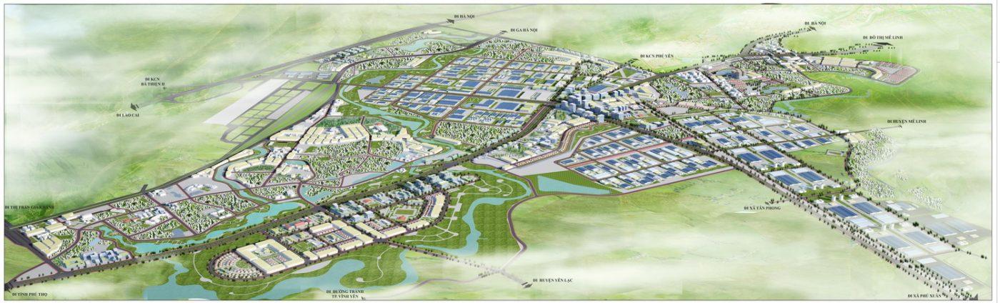 Phối cảnh tổng thể Quy hoạch phân khu C1 tỷ lệ 1/2000 phát triển công nghiệp và đô thị phụ trợ khu vực hai bên Quốc lộ 2 tại huyện Bình Xuyên, tỉnh Vĩnh Phúc