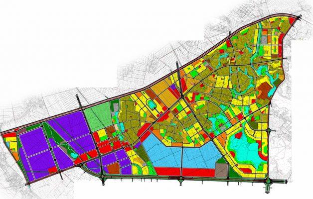 Bản vẽ quy hoạch tổng mặt bằng sử dụng đất Quy hoạch phân khu A3 tỷ lệ 1/2000 phát triển đô thị dịch vụ khu vực 2 bên đường QL2 tại thành phố Vĩnh Yên, các huyện Vĩnh Tường, Tam Dương, Yên Lạc, tỉnh Vĩnh Phúc