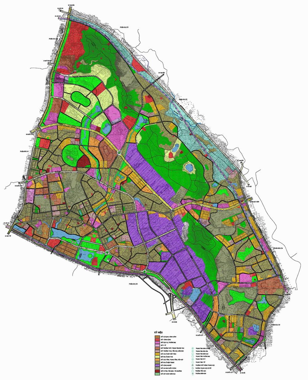 Quy hoạch tổng mặt bằng sử dụng đât Quy hoạch phân khu A5 tỷ lệ 1/2000 Phát triển đô thị trung tâm tại thành phố Vĩnh Yên và một phần đất đai huyện Bình Xuyên, huyện Tam Dương - Vĩnh Phúc
