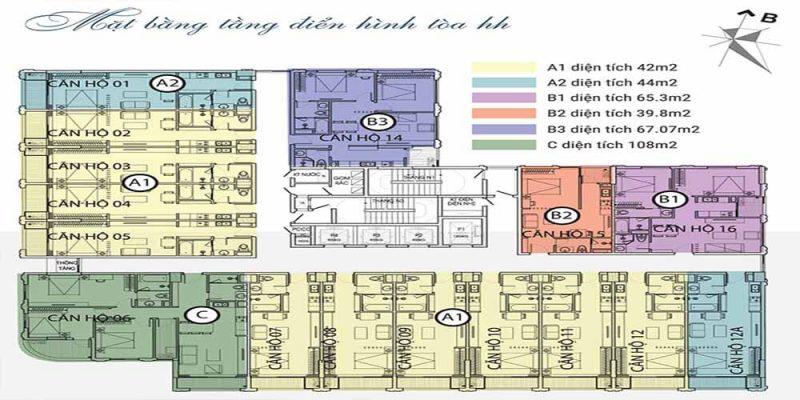 Mặt bằng điển hình căn hộ Dự án Chung cư The City Light Vĩnh Yên