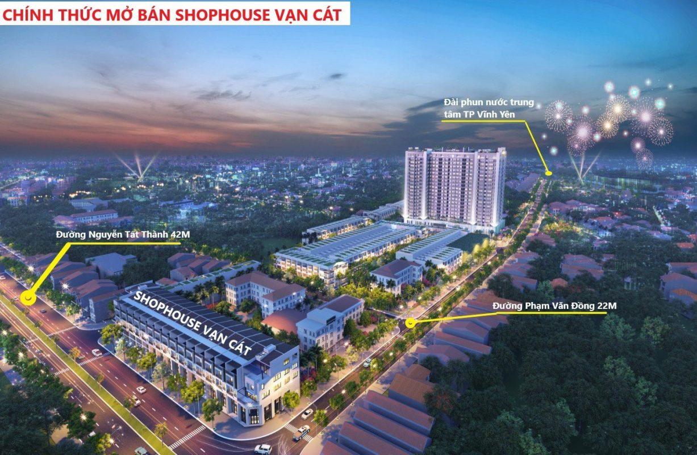 Phối cảnh Shophouse Vạn Cát mặt đường Nguyễn Tất Thành Vĩnh Yên