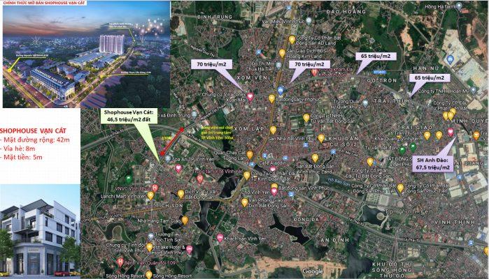 So sánh giá Shophouse Vạn Cát mặt đường Nguyễn Tất Thành Vĩnh Yên với các khu vực khác