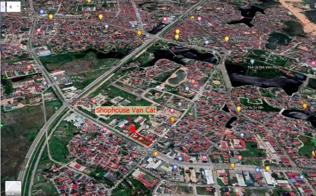 Vị trí Shophouse Vạn Cát mặt đường Nguyễn Tất Thành Vĩnh Yên